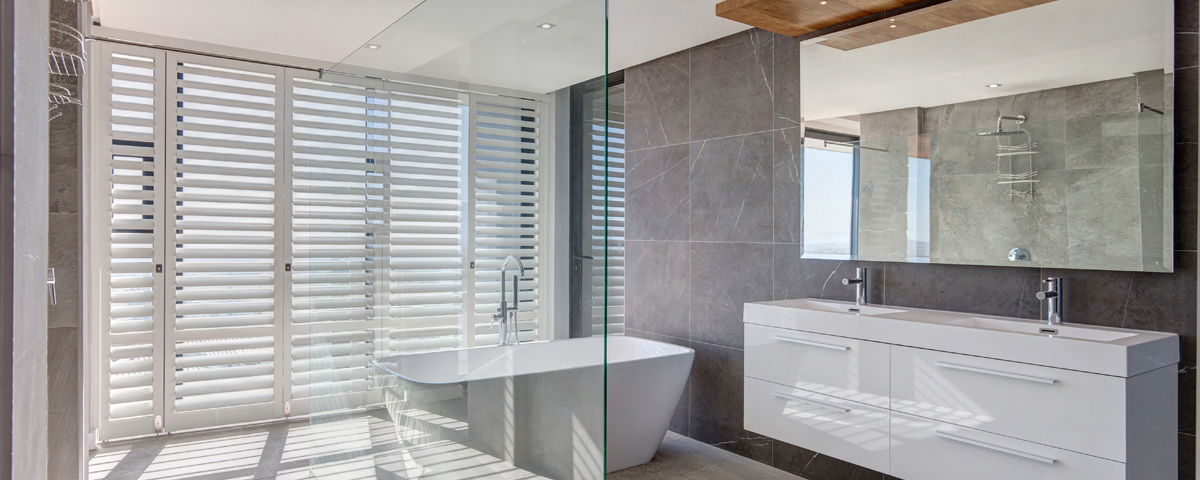 White Aluminium Shutters Bathroom
